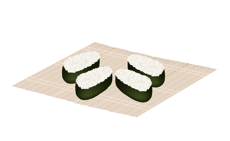 Japanese Cuisine, Illustration of Japanese Rice Maki Sushi Prepare for Topping with Seafood, Vegetables and Fruits Japanese Bamboo Mat. Illustration