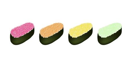 egg roll: Japanese Cuisine, Illustration of Delicious Pink, Orange, Yellow and Green Ebiko Sushi, Tobiko Sushi or Flying Fish Caviar Sushi.