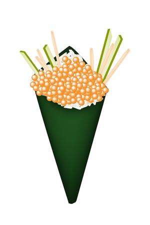 egg roll: Japanese Cuisine, Illustration of Orange Tobiko Temaki or Salmon Eggs Hand-Roll Sushi with Julienne Cucumber and Carrot.