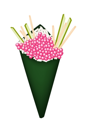 egg roll: Japanese Cuisine, Illustration of Delicious Pink Tobiko Sushi with Julienne Cucumber and Carrot in Temaki Sushi, Cone Sushi or Hand Roll Sushi.