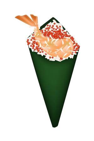 Japanese Cuisine, Illustration of Ebi Tempura or Deep Fried Shrimps Hand Roll Sushi with Orange Tobiko. Illustration