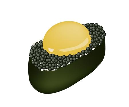 Japanese Cuisine, Illustration of Black Tobiko Roe with Uzura or Raw Quail Egg Sushi Isolated on White Background. Vector