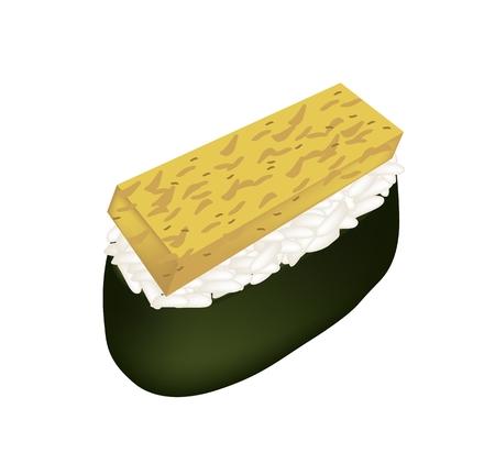 egg roll: Japanese Cuisine, Illustration of Tamagoyaki Sushi or Japanese Omelett Nigiri Isolated on White Background. Illustration