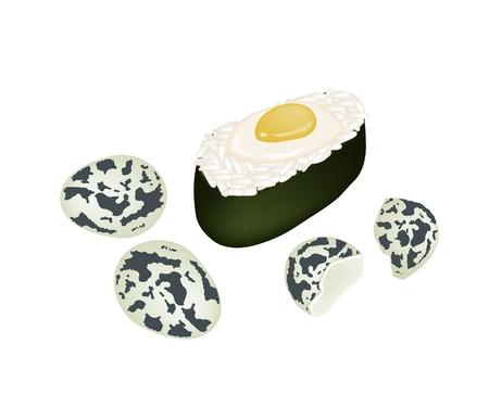 raw egg: Japanese Cuisine, Illustration of Uzura Sushi or Raw Quail Egg Sushi Isolated on A White Background.
