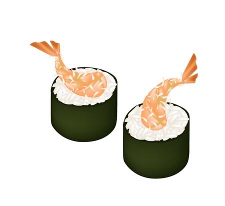 Japanese Cuisine, Illustration of Fresh Ebi Tempura Makizushi or Deep Fried Shrimps Sushi Roll Isolated on White Background.