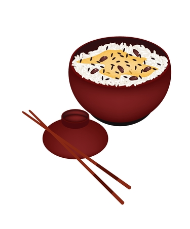 rice and beans: Japanese Cuisine, Illustration of White Steamed Rice with Red Beans in Donburi Bowl Isolated on A White Background. Illustration