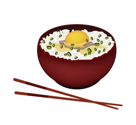 Japanese Cuisine, Illustration of White Steamed Rice with Raw Egg, Scallion and Sauce in Donburi Bowl Isolated on A White Background. Vector