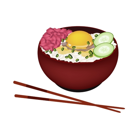 jasmine rice: Japanese Cuisine, Illustration of White Steamed Rice Topping with Raw Egg and Tuna in Donburi Bowl Isolated on A White Background.