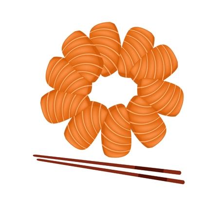 bamboo stick: Japanese Cuisine, Illustration of Fresh Salmon Sashimi or Sake Sashimi Isolated in White Background.