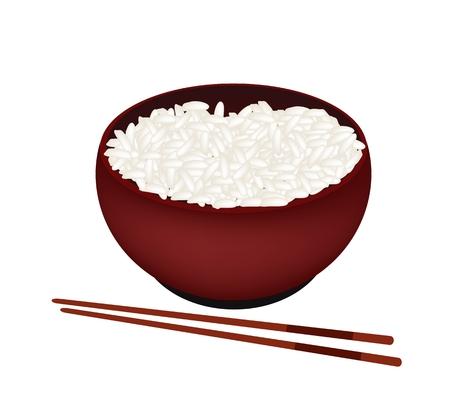 rice: Cocina japonesa, Ilustración de White arroz al vapor en Donburi recipiente aislado en un fondo blanco.