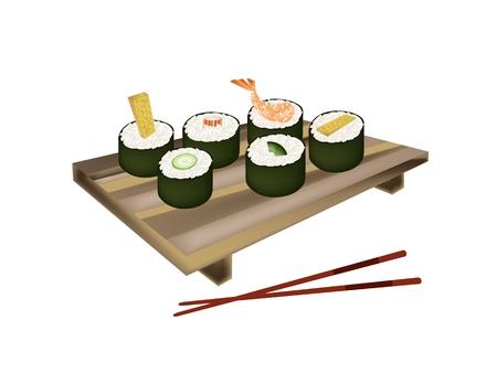egg roll: Japanese Cuisine, Illustration of Fresh Ebi Tempura, Tamagoyaki, Surimi, Cucumber and Avocado Sushi Roll on Geta Plate with Chopstick. Illustration