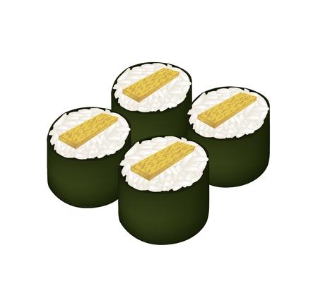 Japanese Cuisine, Illustration of Tamagoyaki Maki or Japanese Omelett Sushi Roll Isolated on White Background. Vector