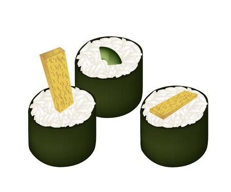 sushi roll: Cucina giapponese, Illustrazione di Avocado Maki e giapponese Omelett Sushi Roll isolato su sfondo bianco.