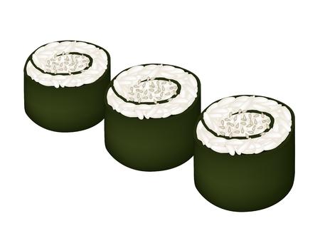 sesame: Japanese Cuisine, Illustration of Fresh Rice Sushi Rolls or Rice Makimono Rolls Topping with Sesame Isolated on White Background.