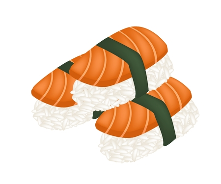 culinary arts: Japanese Cuisine, Illustration of Fresh Salmon Sushi or Salmon Nigiri Isolated on White Background.
