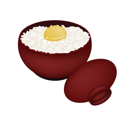 Japanese Cuisine, Illustration of White Steamed Rice Topping with Raw Egg in Donburi Bowl Isolated on A White Background. Ilustração