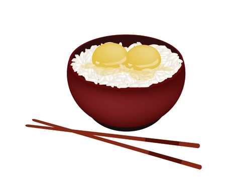 raw egg: Japanese Cuisine, Illustration of White Steamed Rice Topping with Raw Egg in Donburi Bowl Isolated on A White Background. Illustration