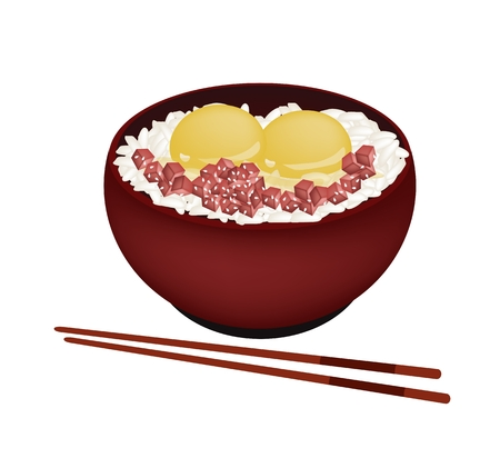 Japanese Cuisine, Illustration of White Steamed Rice Topping with Raw Egg and Tuna in Donburi Bowl Isolated on A White Background.