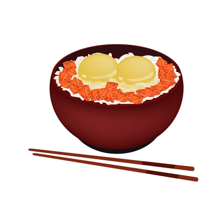 raw egg: Japanese Cuisine, Illustration of White Steamed Rice Topping with Raw Egg and Salmon in Donburi Bowl.