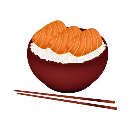 jasmine rice: Japanese Cuisine, Illustration of White Steamed Rice Topping with Salmon in Donburi Bowl Isolated in White Background.