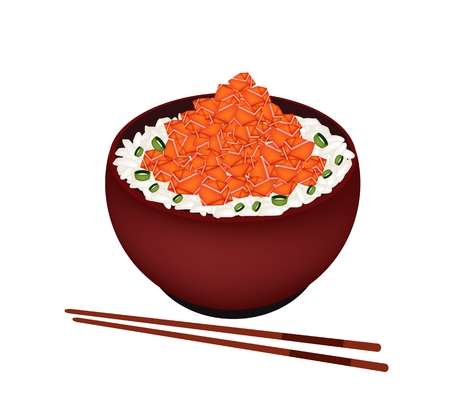 jasmine rice: Japanese Cuisine, Illustration of White Steamed Rice Topping with Salmon Cube in Donburi Bowl Isolated in White Background.