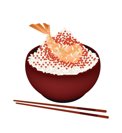 Japanese Cuisine, Illustration of White Steamed Rice Topping with Tobiko and Ebi Tempura in Donburi Bowl Isolated on A White Background. Vector