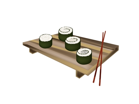 rice plate: Japanese Cuisine, Illustration of Fresh Rice Sushi Rolls or Rice Makimono Rolls Topping with Sesame on Wooden Geta Plate with Chopsticks.