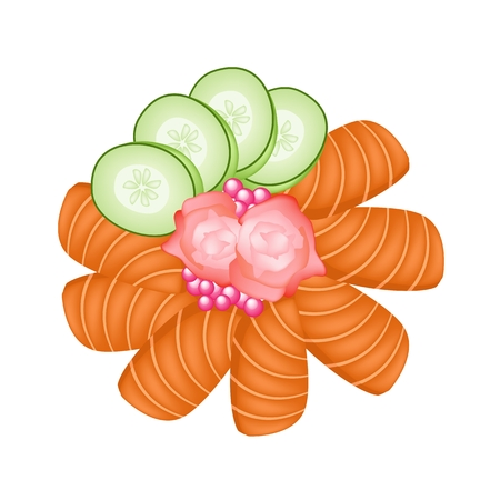 Japanese Cuisine, Illustration of Fresh Salmon Sashimi or Sake Sashimi with Tobiko Flying Fish Caviar Cucumber and Pickled Ginger. Vector