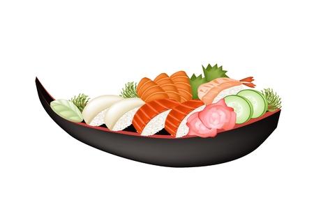 Japanese Cuisine, Illustration of Fresh Salmon Sushi, Tako Sushi, Ebi Sushi with Salmon Sashimi and Wasabi on Sushi Boat. Vector