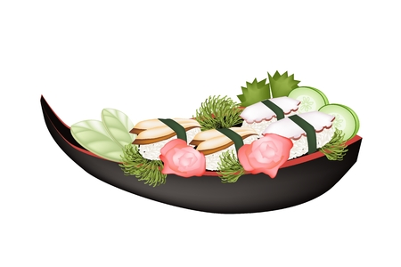 Japanese Cuisine, Illustration of Delicious Unagi Sushi and Squid Nigiri with Wasabi and Pikled Giger on Sushi Boat. Vector