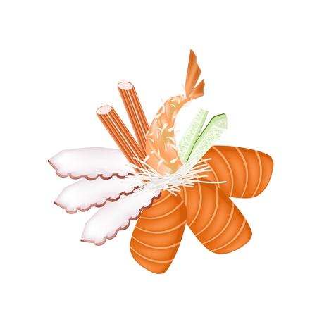 Japanese Cuisine, Illustration of Salmon Sashimi, Squid Sashimi, Kani Sashimi and Ebi Tempura Isolated in White Background. Vector