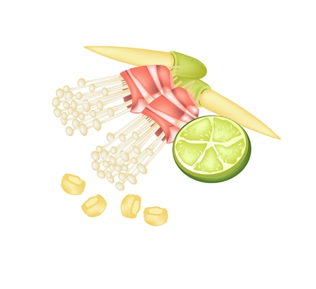 winter grilling: Japanese Cuisine, Illustration of Enoki Mushroom or Golden Needle Mushroom and Bacon Served with Baby Corn and Lime Isolated in White Background. Illustration
