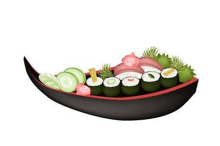 Japanese Cuisine, Illustration of Avocado Maki, Cucumber Maki, Surimi Maki, Omelett Sushi Roll and Tuna Sushi on Wooden Boat. Vector