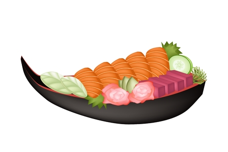 Japanese Cuisine, Illustration of Fresh Salmon Sashimi or Sake Sashimi and Tuna Sashimi on Sushi Boat. Vector
