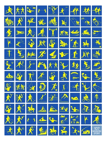 Illustration Collection of 107 Winter and Summer Sport Icons in Yellow and Blue Colors. Vector