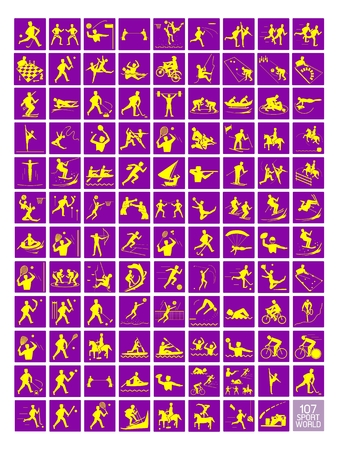 Illustration Collection of 107 Winter and Summer Sport Icons in Yellow and Purple Colors. Vector