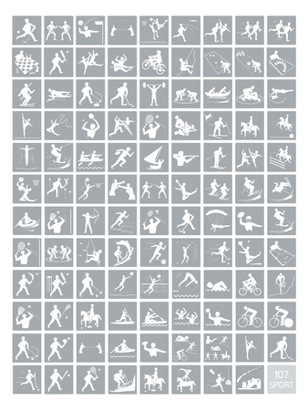 Illustration Collection of 107 Winter and Summer Sport Icons in Gray and White Colors. Vector