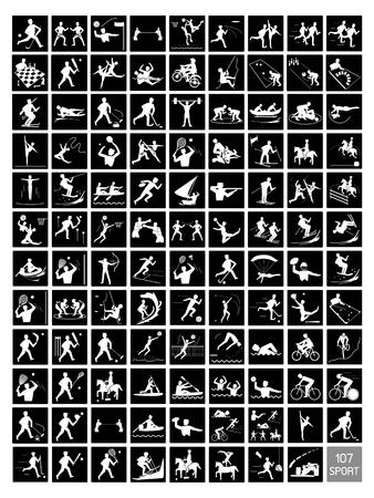 블랙과 화이트 색상 107 겨울과 여름 스포츠 아이콘의 컬렉션입니다.