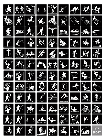 Illustration Collection of 107 Winter and Summer Sport Icons in Black and White Colors. Vector