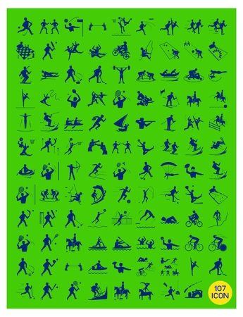 Illustration Collection of Yellow Icon of 107 Winter and Summer Sport on Green Background. Vector