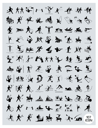 Illustration Collection of Black Icon of 107 Winter and Summer Sport on Gray Background. Vector