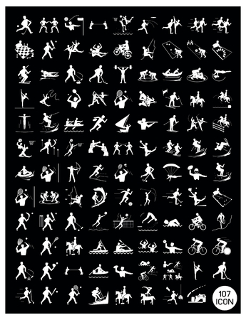 Illustration Collection of White Icon of 107 Winter and Summer Sport on Black Background. Vector