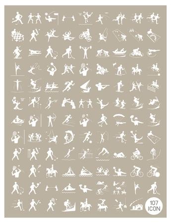 Illustratie Collectie van White icoon van 107 Winter en Zomer Sport op Vintage lichtbruine achtergrond.
