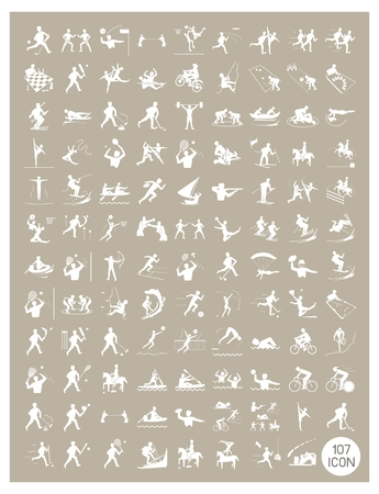 Illustration Collection of White Icon of 107 Winter and Summer Sport on Vintage Light Brown Background. Иллюстрация