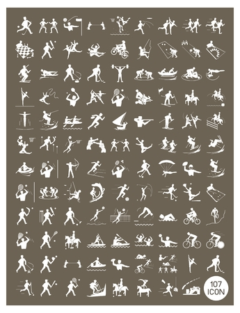Illustration Collection of White Icon of 107 Winter and Summer Sport on Vintage Dark Brown Background. Vector