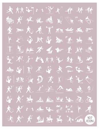 rosy: Illustration Collection of White Icon of 107 Winter and Summer Sport on Vintage Rosy Brown Background.