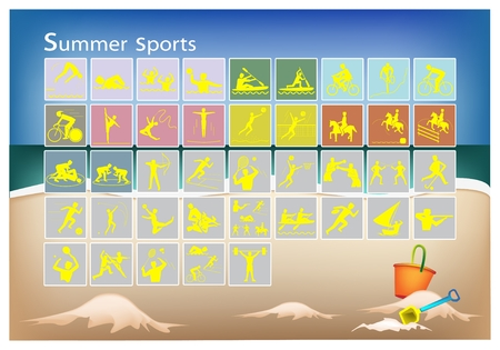 pentathlon: Illustration Collection of 41 Summer Sport Icons on Beach Background.