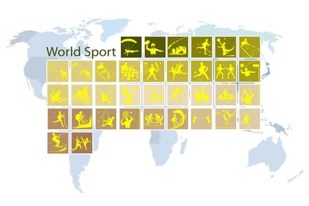racquetball: Ilustración Colección de 35 iconos del mundo del deporte en el mapa del mundo de fondo.