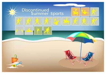 Illustration Collection of 16 Discontinued Summer Sport Icons on Beach Background. Vector