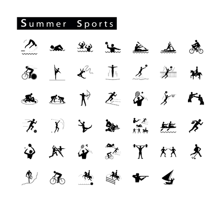 pentathlon: Illustration Collection of 41 Summer Sport Icons on White Background.